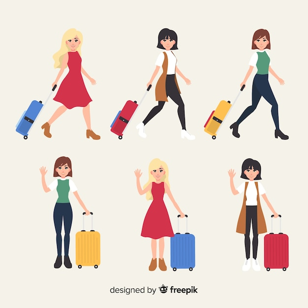 Colección de chicas planas estilo viajero. vector gratuito