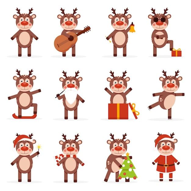 Colección de ciervos navideños Vector Premium