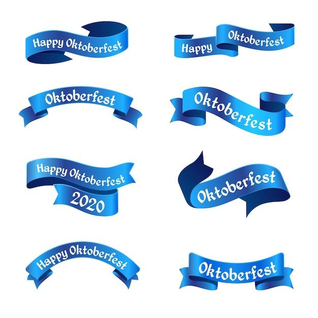Colección de cintas azules de oktoberfest vector gratuito