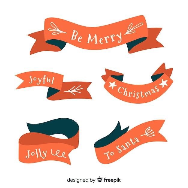 Colección de cintas navideñas dibujadas a mano vector gratuito