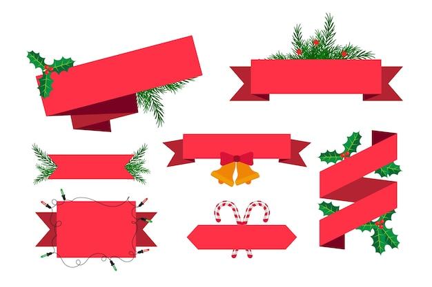 Colección de cintas navideñas de diseño plano vector gratuito