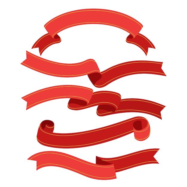 Colección de cintas navideñas en diseño plano vector gratuito