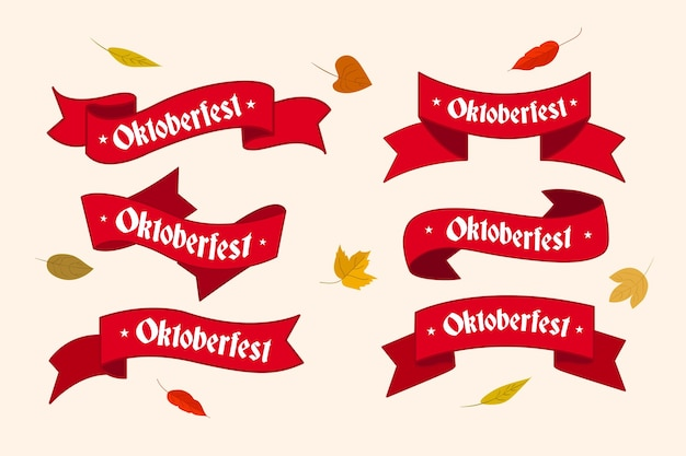 Colección de cintas de oktoberfest dibujadas a mano Vector Premium