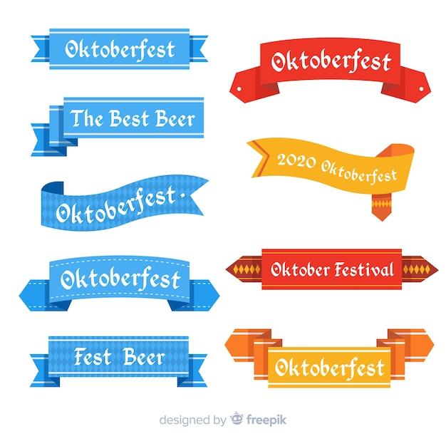 Colección de cintas de oktoberfest en diseño plano vector gratuito
