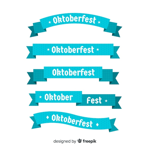 Colección de cintas del oktoberfest en diseño plano vector gratuito