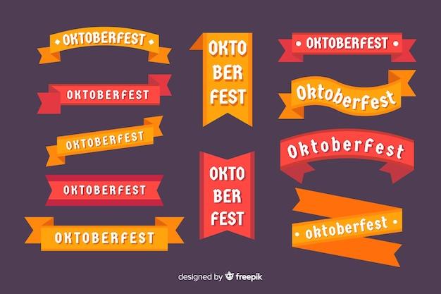 Colección de cintas de oktoberfest de diseño plano vector gratuito