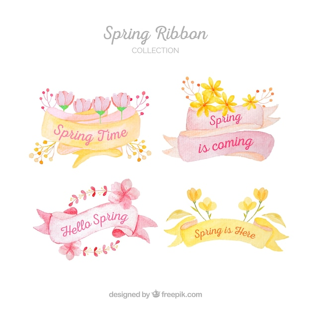 Colección de cintas de primavera pintados a mano vector gratuito
