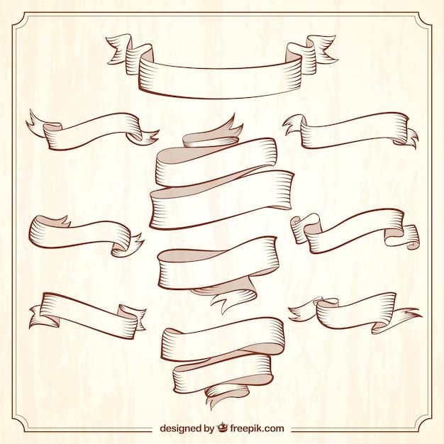 Colección de cintas vintage ornamentales Vector Premium