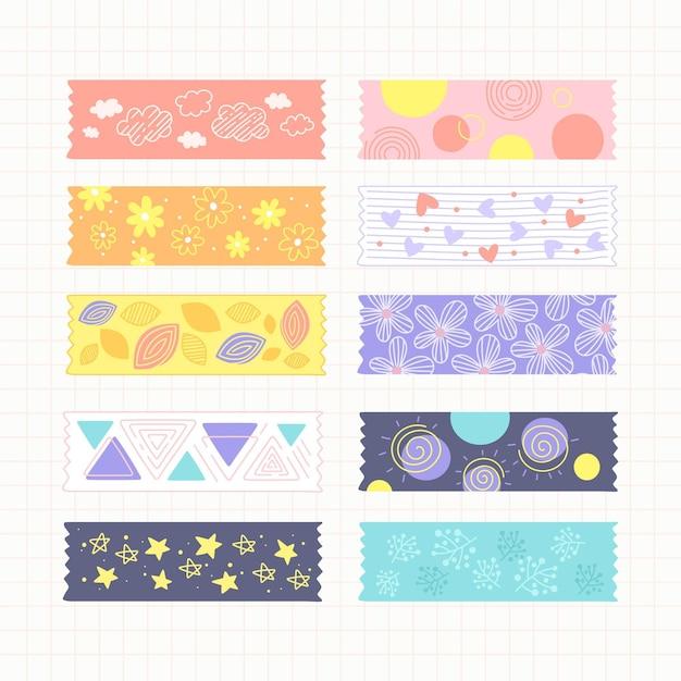 Colección de cintas washi dibujadas a mano vector gratuito