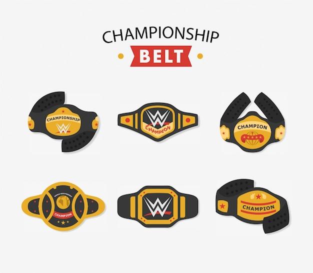 Colección de cinturones de campeonato vector gratuito