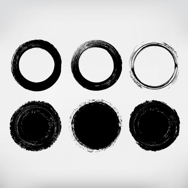 Colección de círculos pintados a mano vector gratuito