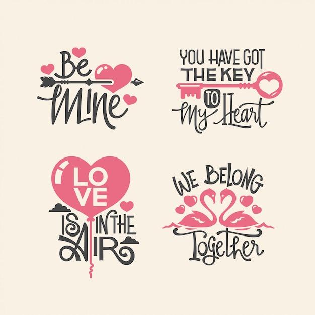 Colección de citas de letras de san valentín Vector Premium