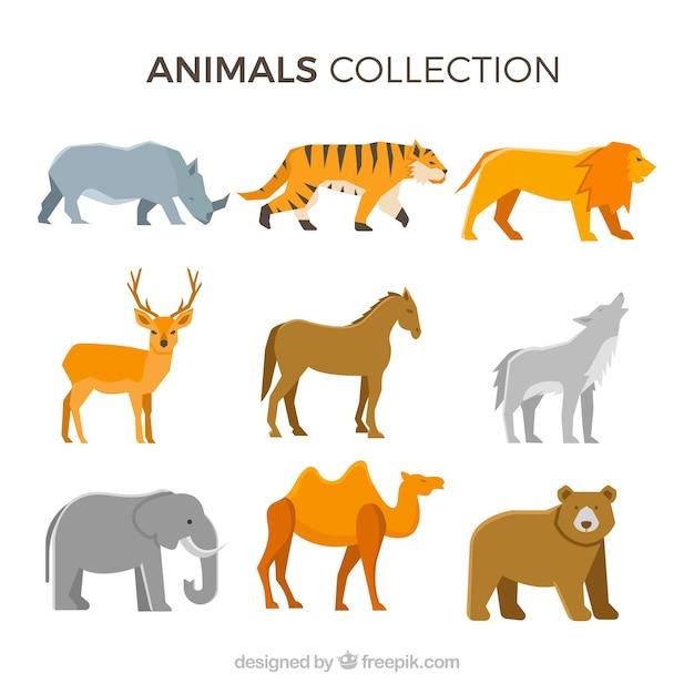 Colección clásica de animales con diseño plano vector gratuito