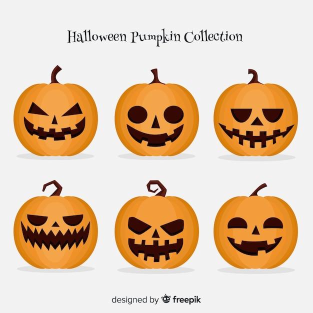 Colección Clásica De Calabazas De Halloween Con Diseño Plano Vector Gratis