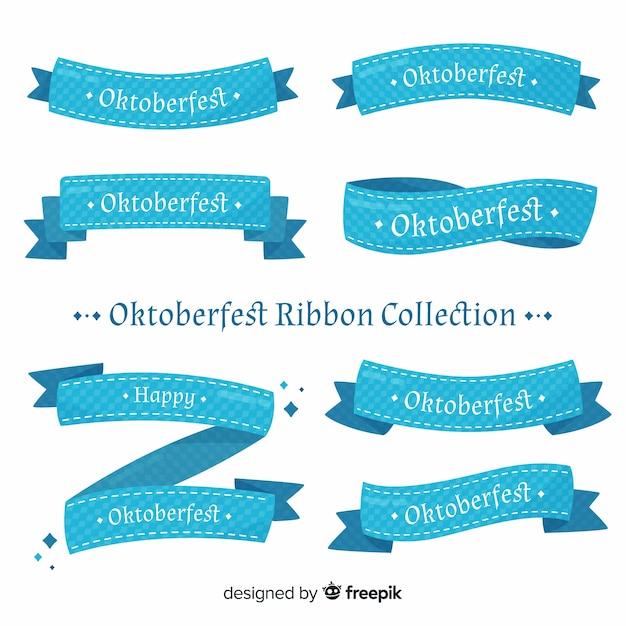 Colección clásica de cintas de oktoberfest con diseño plano vector gratuito