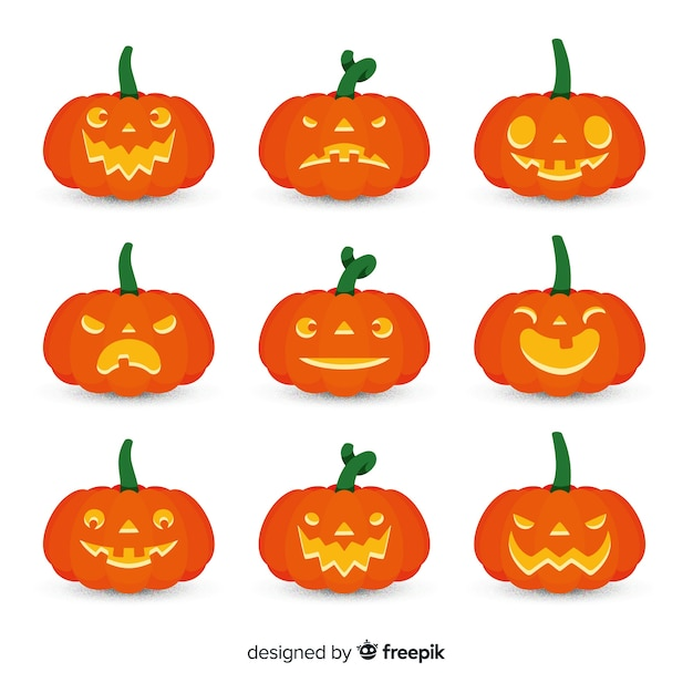 Colección clásica de calabazas de halloween con diseño plano ...