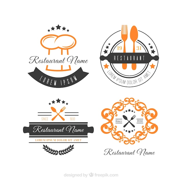 colecci243n cl225sica de logos retro de restaurante