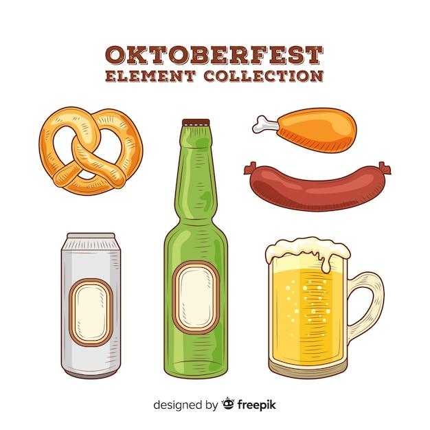 Colección clásica de elementos del oktoberfest dibujados a mano vector gratuito
