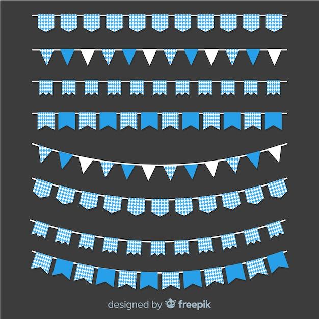 Colección clásica de guirnaldas de oktoberfest con diseño plano vector gratuito