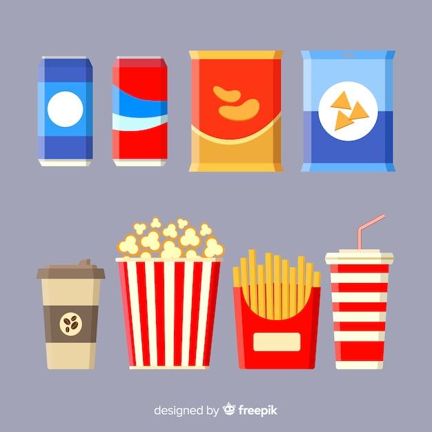 Colección clásica de snacks con diseño plano vector gratuito