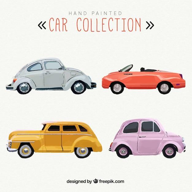 Colección de coches pintados a mano vector gratuito