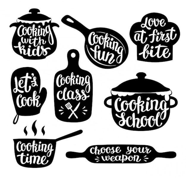 Colección de cocina etiqueta o logotipo. Vector Premium