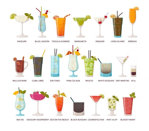 Colección de cócteles bebidas alcohólicas clásicas y tropicales, tragos largos y tragos. ilustración. Vector Premium