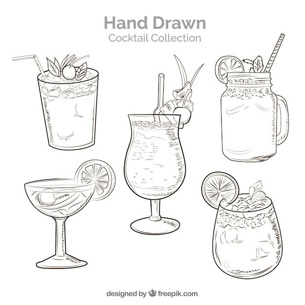 Colección de cócteles dibujados a mano con estilo de boceto vector gratuito