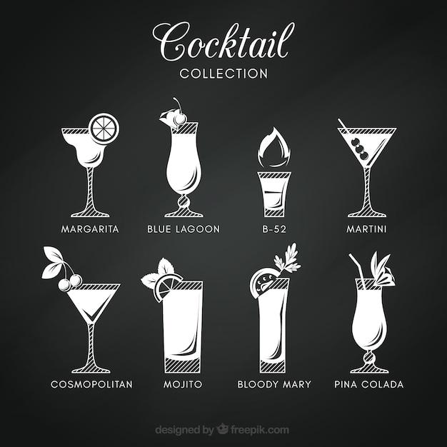 Colección de cócteles en estilo pizarra vector gratuito