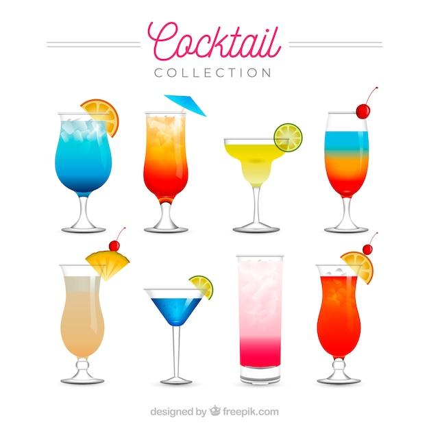 Colección de cócteles refrescantes en estilo realista vector gratuito