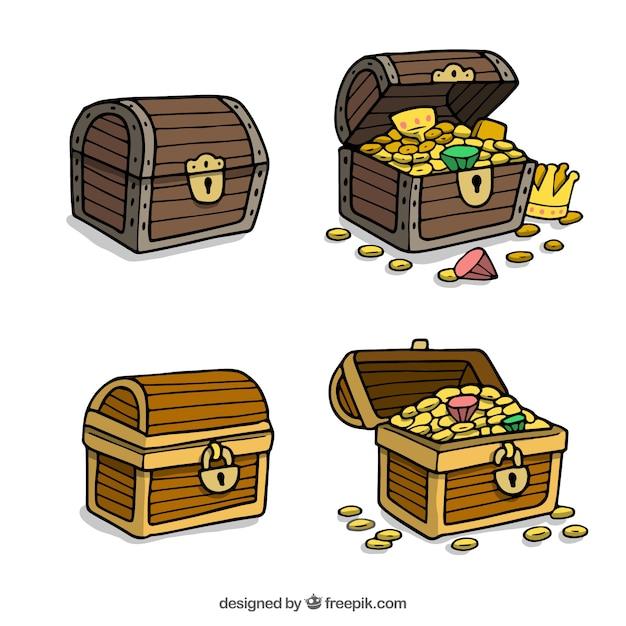 Colección de cofres del tesoro dibujados a mano vector gratuito