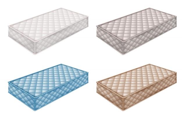 Colección de colchones ortopédicos en diferentes colores. Vector Premium