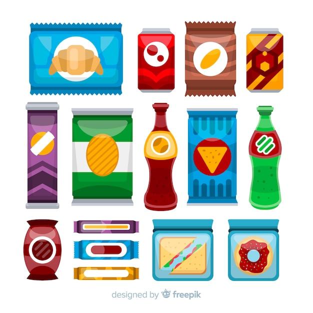 Colección colorida de aperitivos con diseño plano vector gratuito