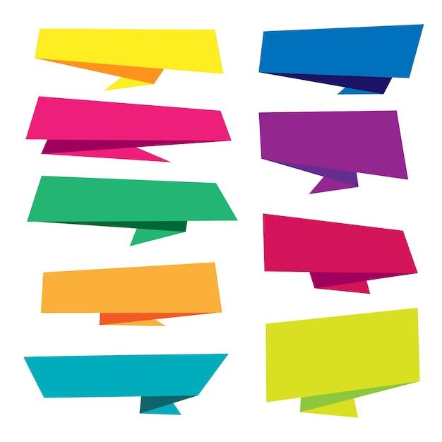 Colección colorida de banners origami vector gratuito