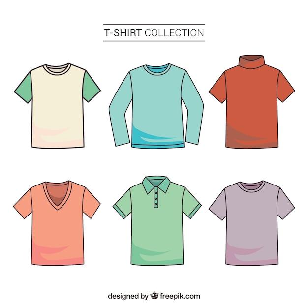 Colección colorida de camisetas en 2d con estilo de dibujo a mano vector gratuito