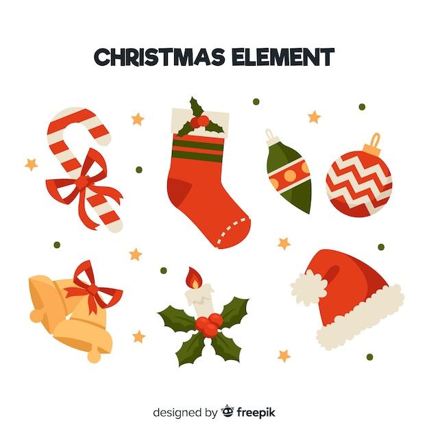 Colección colorida de elementos de navidad con diseño plano ...