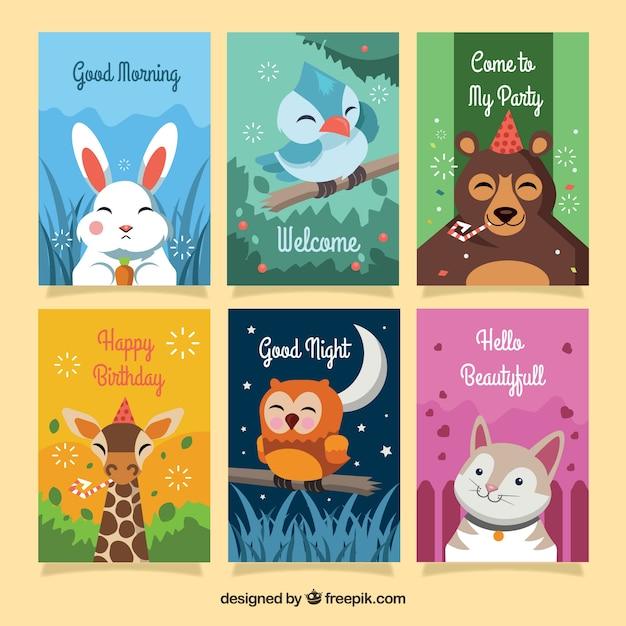 Colección colorida de tarjetas con animales felices Vector Gratis