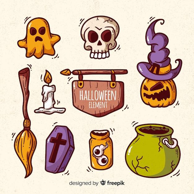Colección colorida de elementos de halloween dibujados a mano vector gratuito