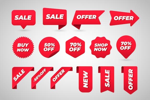 Colección colorida de etiquetas de ventas vector gratuito
