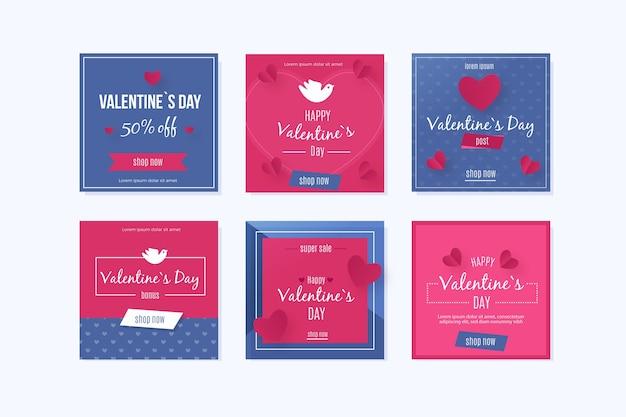 Colección colorida de instagram del día de san valentín vector gratuito