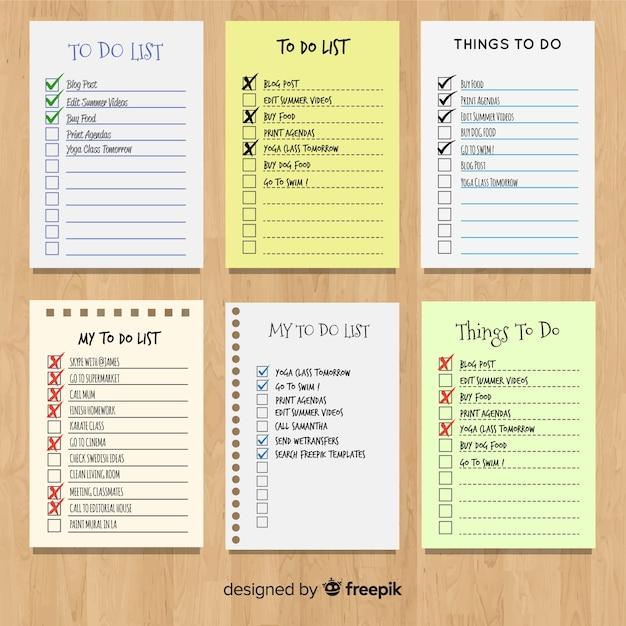Colección colorida de listas de cosas que hacer con diseño plano Vector Premium