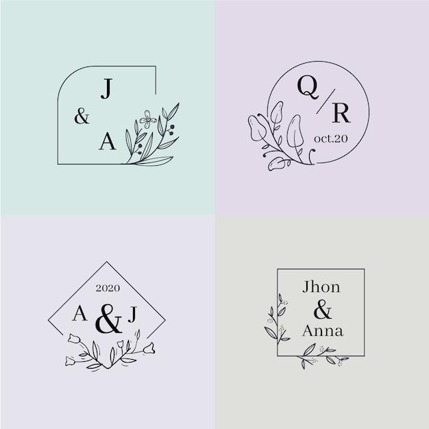 Colección colorida de monogramas de boda vector gratuito