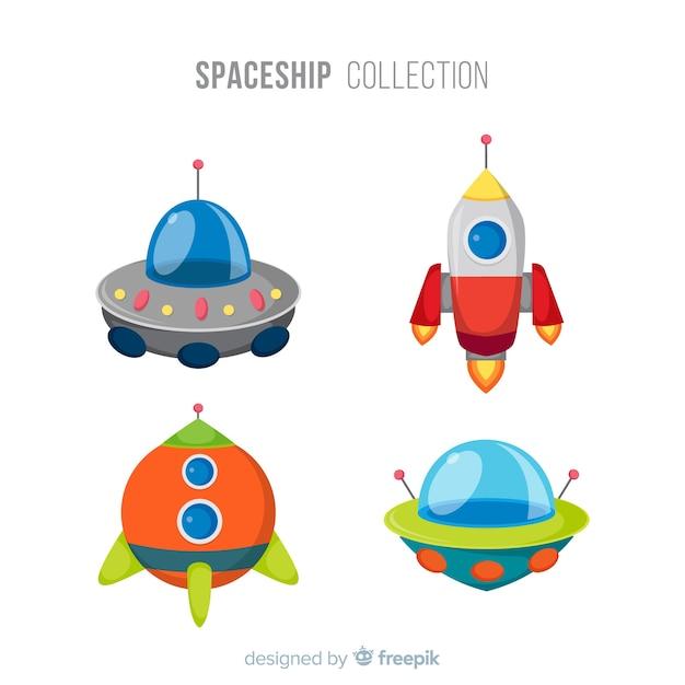 Colección colorida de naves espaciales con diseño plano vector gratuito