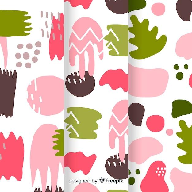 Colección colorida de patrones abstractos dibujados a mano vector gratuito