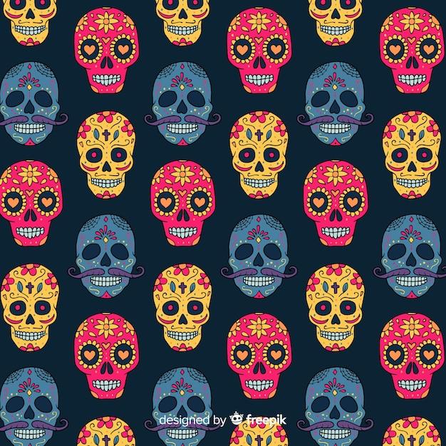 Colección colorida de patrones del día de muertos con diseño plano vector gratuito