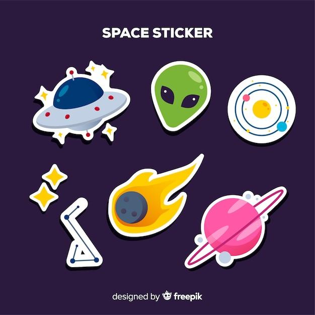 Colección colorida de pegatinas espaciales vector gratuito