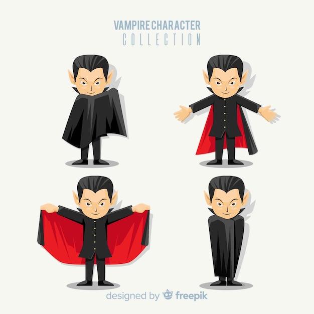 Colección colorida de personajes de vampiro con diseño plano ...