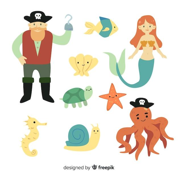Colección colorida de personajes de la vida marina vector gratuito
