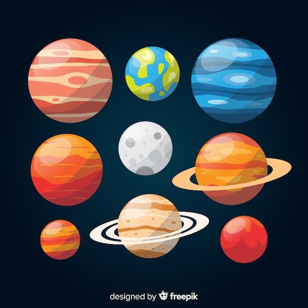 Colección colorida del planeta plano vector gratuito