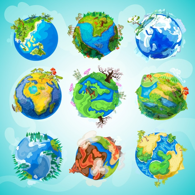 Colección colorida del planeta tierra vector gratuito
